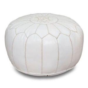 White Moroccan Leather Pouf